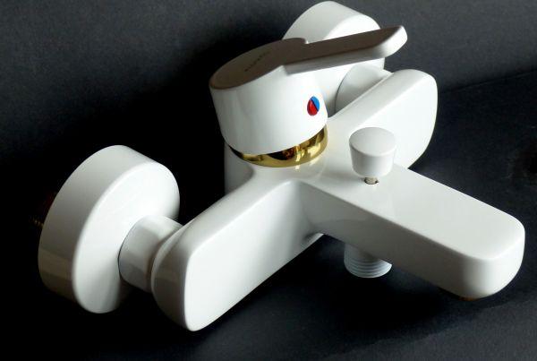 Kludi Einhebel Badewannenarmatur Wannen-Armatur Batterie Logo Neo weiss/gold 376819175-