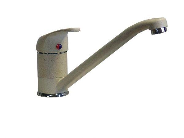 Einhebel Küchenarmatur Spültischarmatur Spüle Armatur granit/beige Niedruck