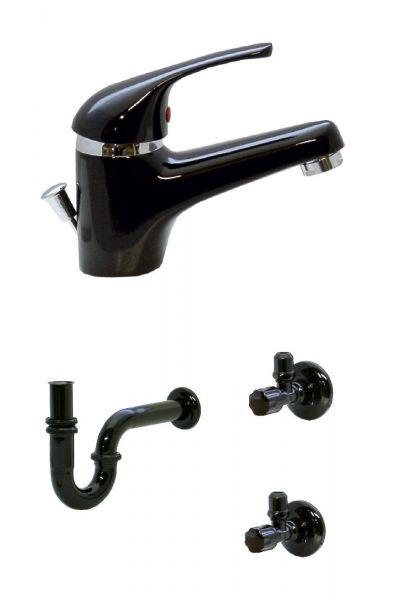 Waschtisch Bad Wasserhahn Armatur Siphon 2 Eckventile Schwarz