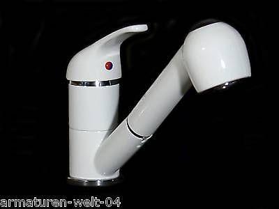 Einhebel Küchenarmatur Spüle Wasserhahn Brause Weiss