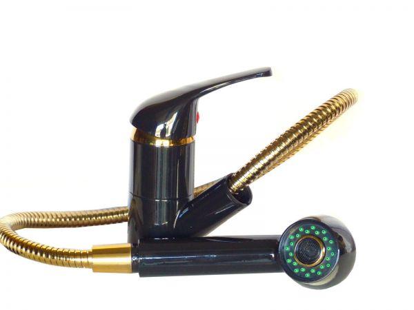 Einhebel Spültisch, Küchenarmatur, Wasserhahn mit Brause, schwarz/gold