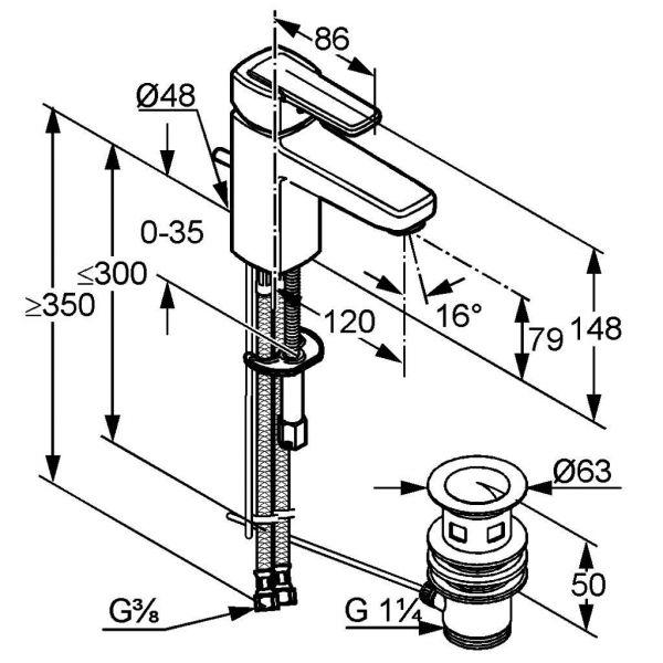 Kludi Waschtischarmatur Waschbecken Bad Armatur chrom Q-BEO 500230565