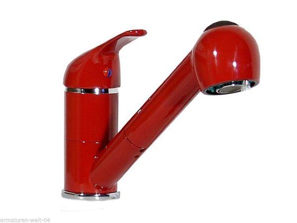 Einhebel Küchenarmatur, Spültisch, Wasserhahn, Armatur, Rot, Niederdruck