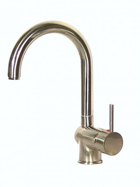 Einhebel Küchenarmatur Spüle Wasserhahn EDELSTAHL-Optik NIEDERDRUCK FUTURA C