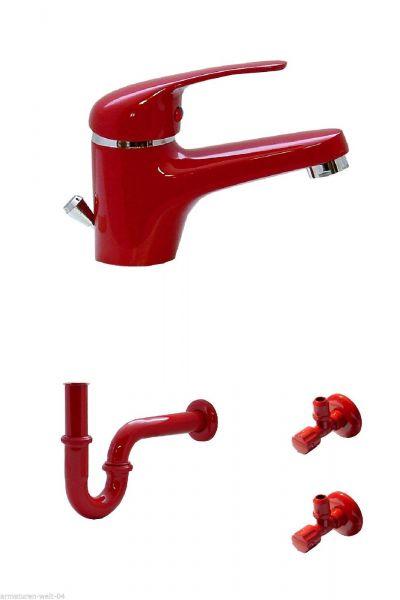 Waschtisch Bad Wasserhahn Armatur Siphon 2 Eckventile Rot