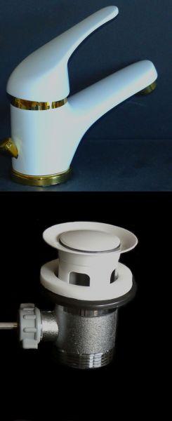 Einhebel-Waschtischarmatur Waschbecken Bad Armatur Weiß/Gold