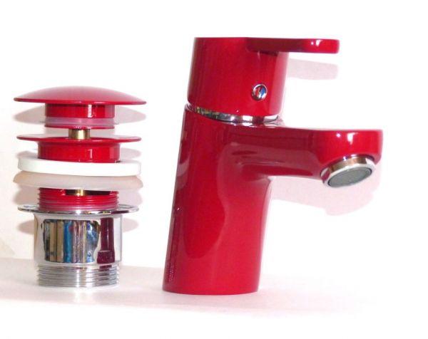 Kludi Waschbecken-Armatur-Einhebelmischer LOGO NEO 373820575 rot mit PopUp