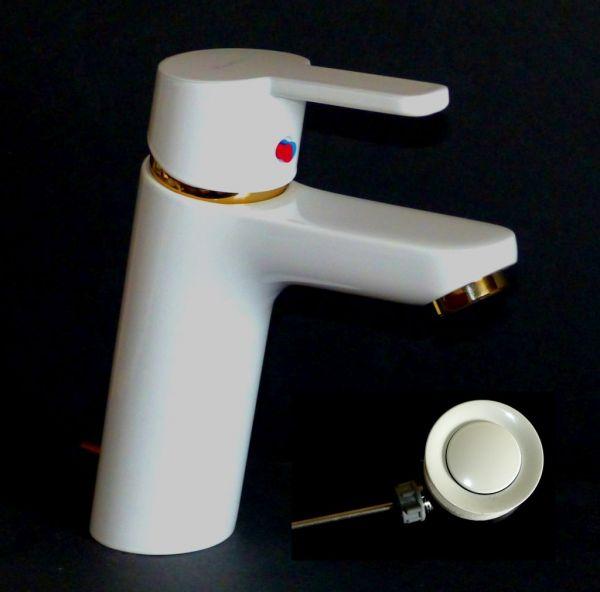 Kludi Waschtischarmatur Waschbecken Bad Armatur weiß/gold Logo Neo