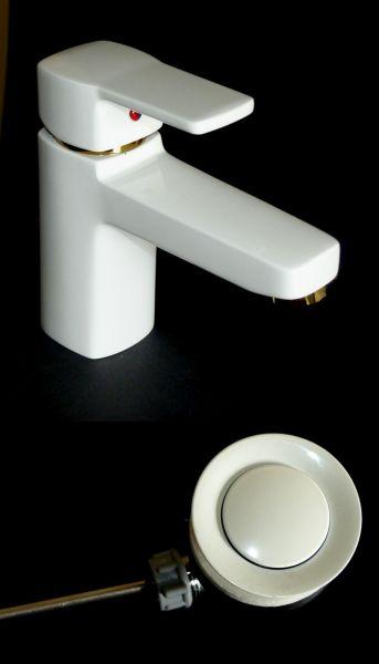 Kludi Waschtischarmatur Waschbecken Bad Armatur Q-BEO 500230565 weiß/gold