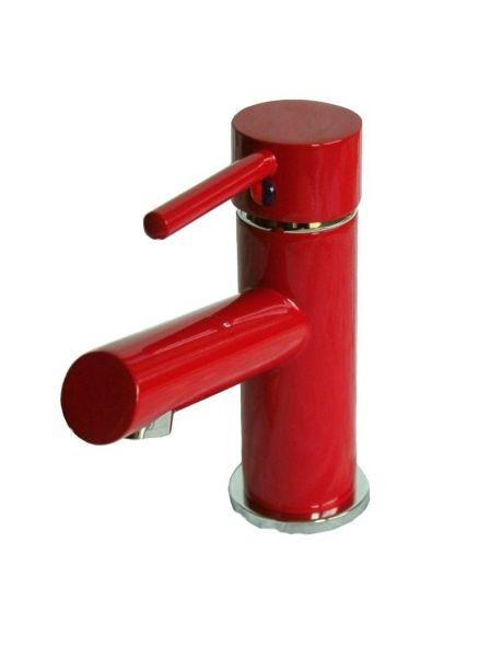 Waschtisch,, Bad, Wasserhahn, Armatur, rot + Excenter