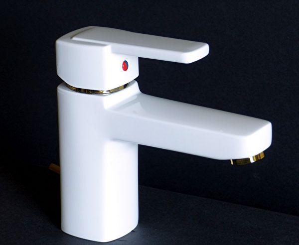 Kludi Waschtischarmatur Waschbecken Bad Armatur Q-BEO 500230575 weiß/gold